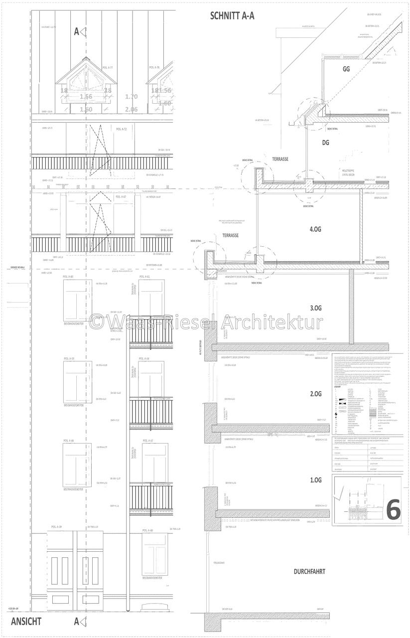 Fassadenschnitt denkmalgeschütztes Wohngebäude