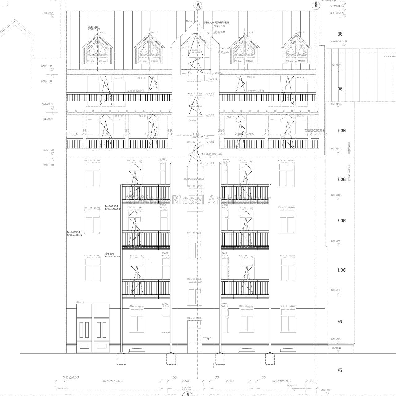 Plan Hoffassade denkmalgeschütztes Wohngebäude