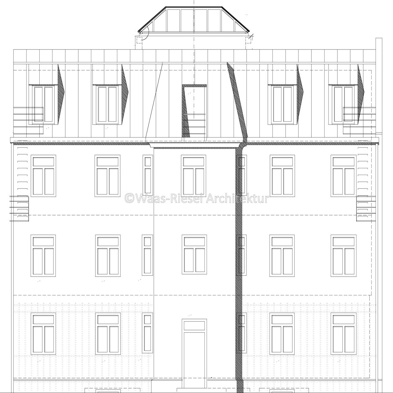 Plan Hoffassade Rückgebäude