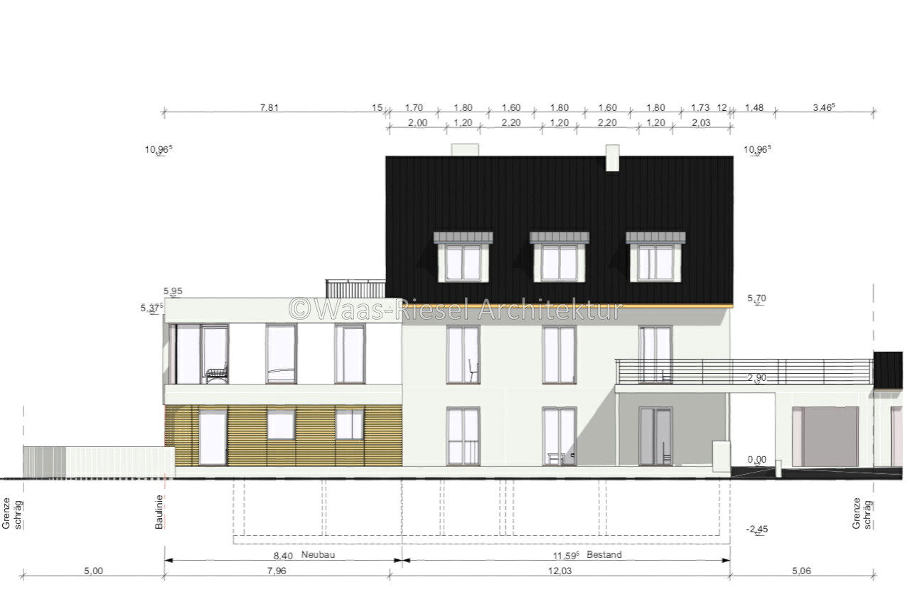 Ansicht Erweiterung eines bestehendes Mehrfamilienhaus