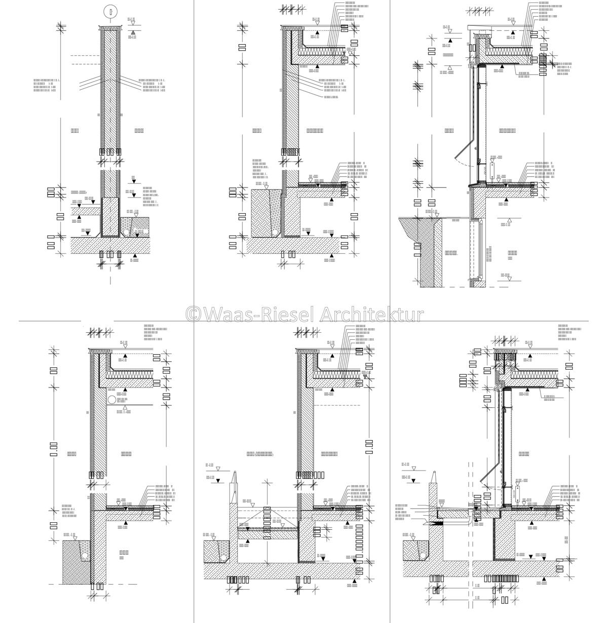 Planung Verwaltungsgebäudes: Fassadenschnitte