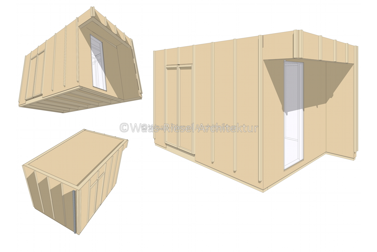 Gartenhaus in 3D beplankt