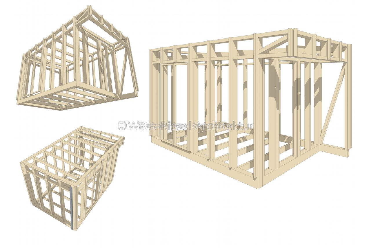 Gartenhaus in 3D Tragwerk