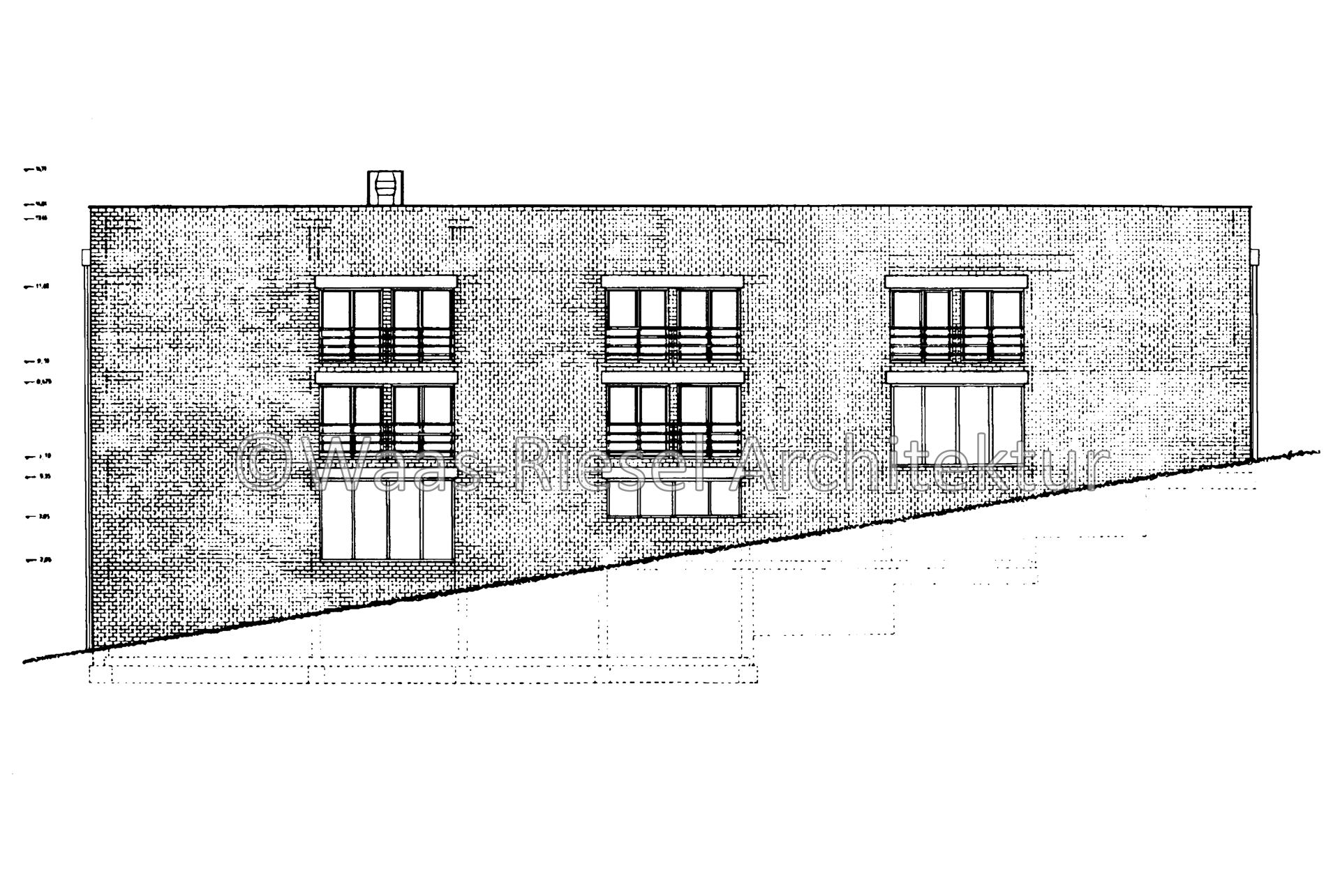 Zeichnung Fassade EFH im Wannebachtal